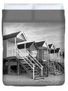Beach Huts Sunset In Black And White Square Duvet Cover