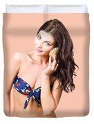 Beautiful Beach Babe Over Studio Background Duvet Cover