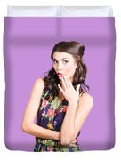 Beautiful Girl With Red Lips Expressing Surprise Duvet Cover