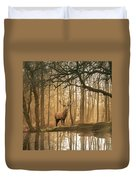 Beautiful Landscape Image Of Still Stream In Lake District Fores Duvet Cover