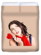 Beautiful Pinup Girl Holding Candy. Sweet Heart Duvet Cover