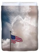 Beautifully Waves - U S Flag And Clouds Duvet Cover