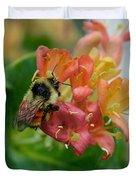 Bee On Wild Honeysuckle Duvet Cover by Ann E Robson