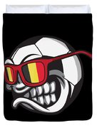 Belgium Angry Soccer Ball With Sunglasses Fanshirt Duvet Cover