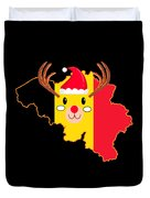 Belgium Christmas Hat Antler Red Nose Reindeer Duvet Cover