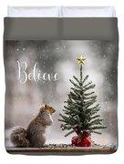 Believe Christmas Tree Squirrel Square Duvet Cover