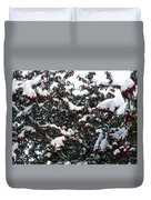 Berries And Snow Duvet Cover