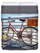 Bicycle At The Beach Duvet Cover