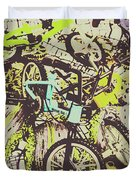 Bikes And City Routes Duvet Cover