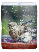 Bird In A Bath Duvet Cover