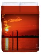 Bird On A Pole Sunrise Duvet Cover