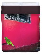 Bird On Cage Duvet Cover