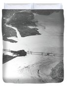 Black And White Aerial View Of Downtown San Francisco With Sun R Duvet Cover