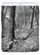 Black And White Mountain Trail Duvet Cover