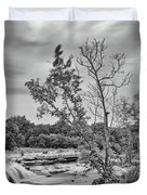Black And White Photograph Of Link Falls At Bull Creek District Park Greenbelt - Austin Texas Duvet Cover
