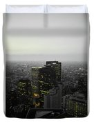 Black And White Tokyo Skyline At Night With Vibrant Selective Yellow Colors Duvet Cover