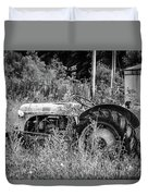 Black And White Tractor Duvet Cover