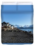 Black Sand Beach In Seward Alaska Duvet Cover
