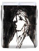 Black Side Portrait Duvet Cover