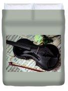 Black Violin On Sheet Music Duvet Cover