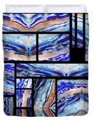 Blue Agate Mosaic Watercolor Collage Duvet Cover