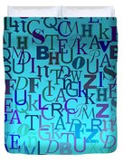 Blue Letters Over Blue Backlight Duvet Cover