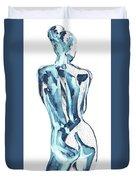 Blue Nude Woman Model Gesture Watercolor Xxxviii Duvet Cover