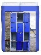 Blue School Lockers Duvet Cover