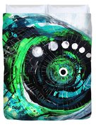 Blue Spewed Turtle Fish Duvet Cover
