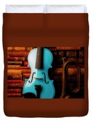 Blue Violin And Old Books Duvet Cover