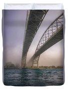 Blue Water Bridge Fog Duvet Cover