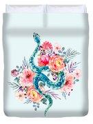 Blue Watercolor Snake In The Flower Garden Duvet Cover