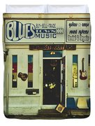 Blues Town Music Store Duvet Cover