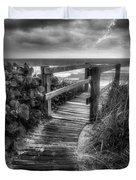 Boardwalk To The Sea In Radiant Black And White Duvet Cover