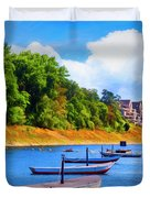Boats At The Ferry Crossing Painting Duvet Cover