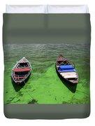Boats On Algae, In Santarem, Brazil. Duvet Cover