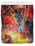 Bogota Colombia Watercolor City Street Map Duvet Cover