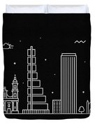 Bogota Skyline Travel Poster Duvet Cover