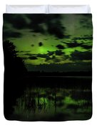 Boot Lake Green And Purple Northern Lights  Duvet Cover