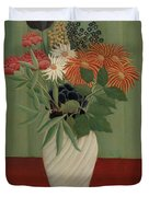 Bouquet Of Flowers With China Asters And Tokyos, 1910 Duvet Cover