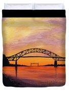 Bourne Bridge Sunset Duvet Cover