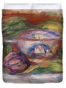 Bowl, Figs, And Apples, 1916 Duvet Cover