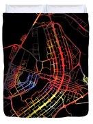 Brasilia Brazil City Street Map Watercolor Dark Mode Duvet Cover
