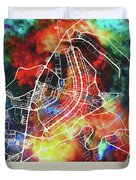 Brasilia Brazil Watercolor City Street Map Duvet Cover