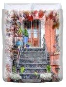 Brick Townhouse Walkup Watercolor Duvet Cover