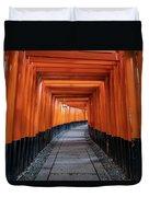 Bright Orange Torii Gates In Kyoto, Japan Duvet Cover