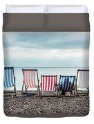 Brighton Beach Chairs Duvet Cover