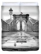Brooklyn Bridge Nyc  Bw Duvet Cover by Susan Candelario