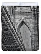 Brooklyn Bridge Over And Under Bw Duvet Cover by Susan Candelario