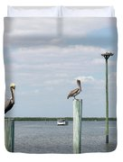 Brown Pelicans On Pilings And An Osprey Nest In The Tarpon Bay A Duvet Cover